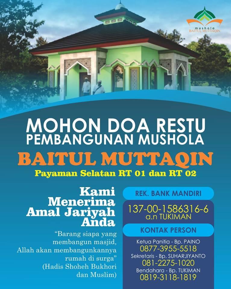 Bantu Pembangunan Masjid Muttaqin