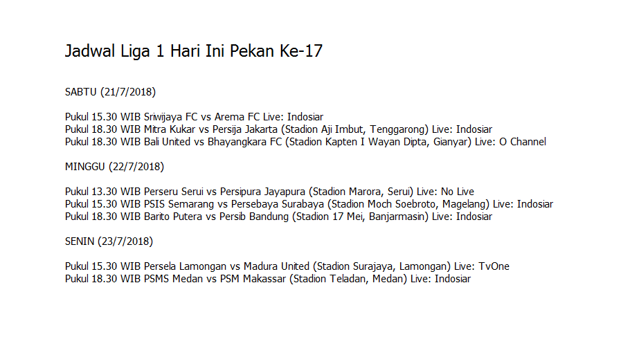 Setelah pertandingan panas antara PS Tirta vs Borneo FC skor 3-4 untuk Borneo, pada hari ini jadwal liga 1 pekan 1-7 akan kembali diadakan.  Jadwal liga 1 hari ini, yakni pekan ke 17, Sabtu (21/7/2018) akan bertanding Sriwijaya FC melawan Arema FC. Bertempat di Stadion Gelora Sriwijaya Jaka Baring Palembang pada pukul 15.30. Setelah itu, pada pukul 18.30 WIB akan diadakan pertandingan Mitra Kukar melawan Persija Jakarta bertempat di Stadion Aji Imbut, Tenggarong dan Bali United vs Bhayangkara FC. Lebih jelasnya, Anda bisa menyimak jadwal liga 1 hari ini sampai pekan ke 17.